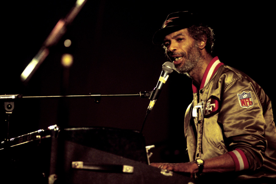 American musician and jazz poet Gil Scott-Heron performs live at a charity event for Rwanda.