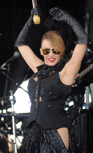 Australian singer Kylie Minogue performs at the Top of the Mountain concert at the ski area in Ischgl, Austria, 02 May 2009. The concert is a conclusion of the skiing season. Photo: Felix Hoerhager