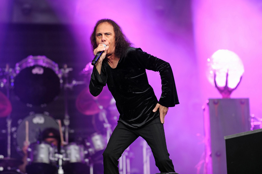Ronnie James Dio of Heaven and Hell performs on stage on Day 1 of Sonisphere Festival at Knebworth.