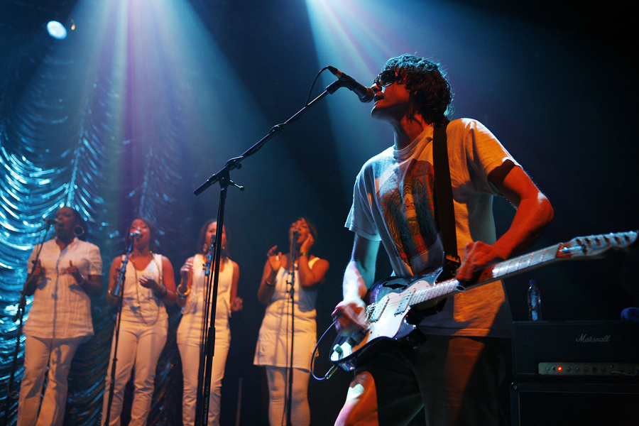 Jason Pierce of Spiritualized with backing singers in concert at Koko in Camden, north London.
