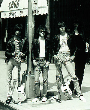 The Ramones posing outside CBGB's in New York, music stock from the 70's, posed.