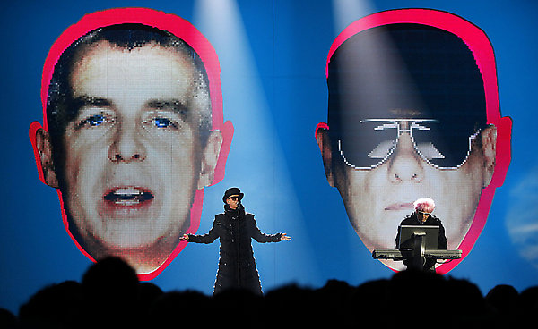 Outstanding Contribution To Music Winners Pet Shop Boys perform on stage, during the BRIT Awards, at Earls Court, central London, SW5.