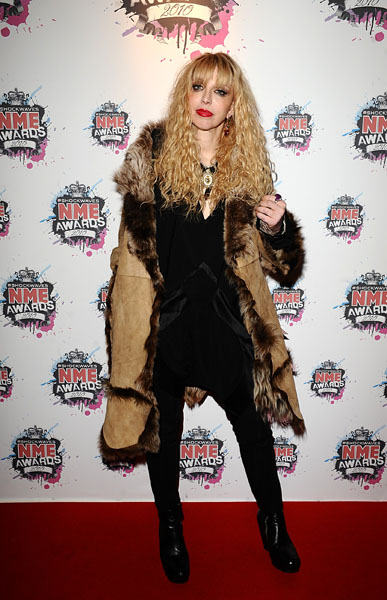Courtney Love arriving for the 2010 Shockwaves NME Awards at the O2 Academy, Brixton, London