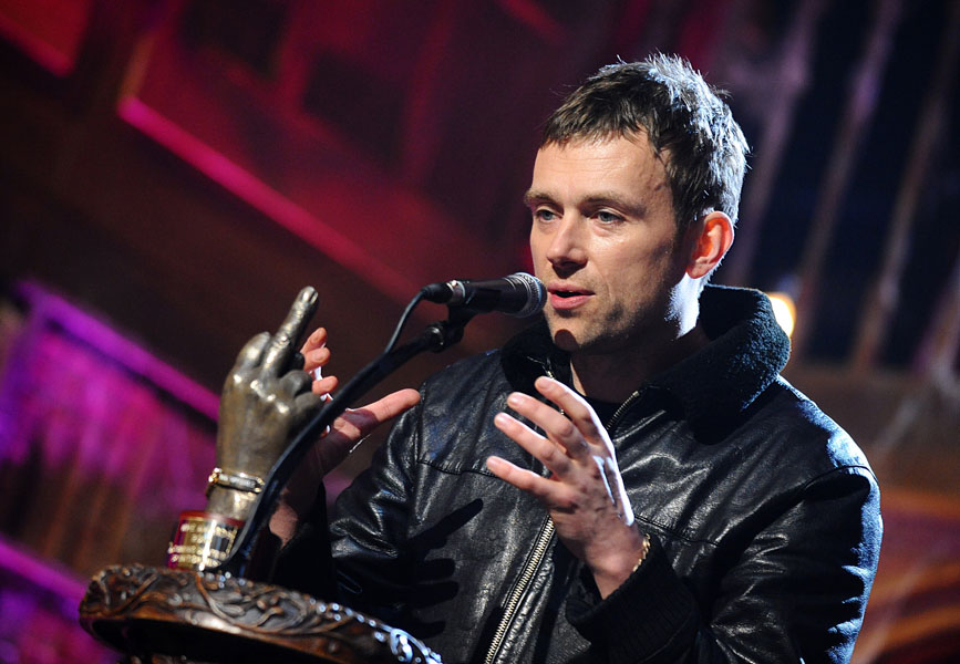 Damon Albarn on stage during the 2010 NME Awards at the O2 Academy Brixton, London