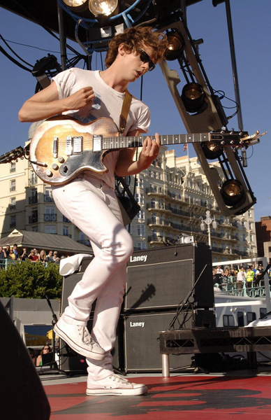 Johnny Borrell from Razorlight performs on stage at the beachfront in Brighton, Sussex, as part of the fourth Vodaphone TBA gig.