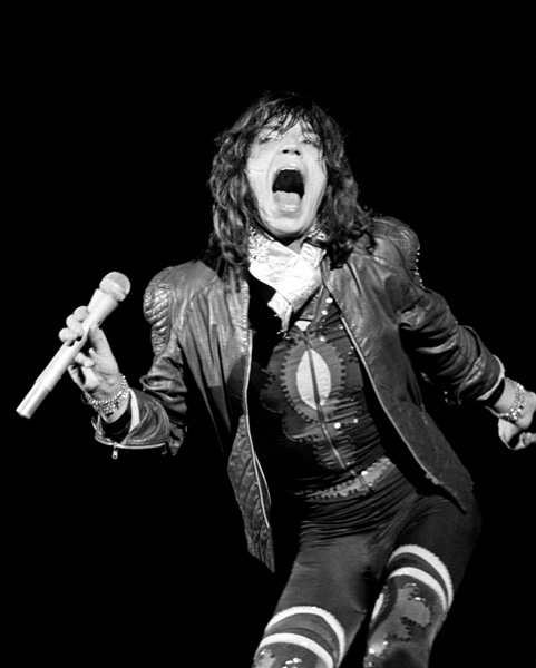 Mick Jagger of the Rolling Stones performs at an all-day concert at Knebworth Park, where the legendary rock band were top of the bill. Nearly a quarter of a million rock fans packed the Hertfordshire site for the concert.