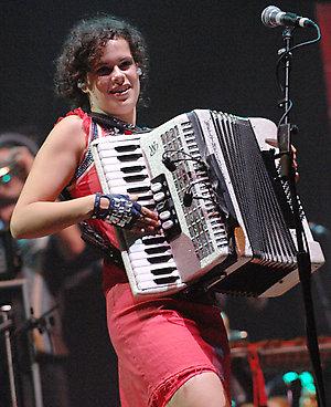 Canadian rock band Arcade Fire perform live on stage during the fifth edition of Rock en Seine music festival, held at Parc de Saint-Cloud near Paris, France.