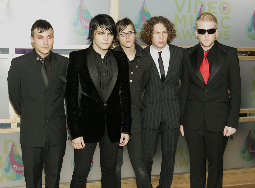 Members of My Chemical Romance pose for photographers as they arrive on the white carpet of the 2005 MTV Video Music Awards Sunday, Aug. 28, 2005 at the American Airlines Arena in Miami, Fla. (AP Photo/Jeff Christensen)