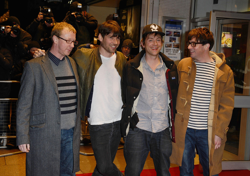Dave Rowntree, Alex James, Damon Albarn and Graham Coxon arrive at the screening of their new documentary No Distance Left to Run at the Odeon West End in London.
