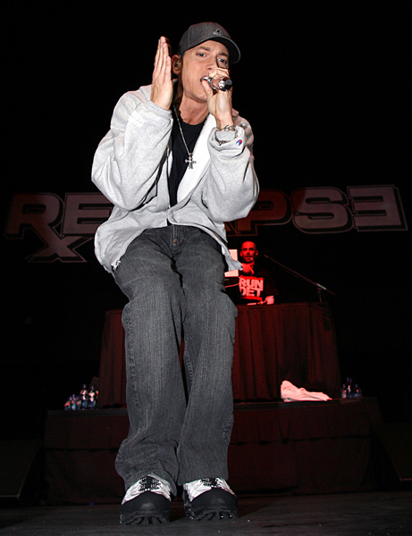 Eminem performs at the Sound Board theater located inside the MotorCity Casino, Hotel in Detroit Tuesday, May 19, 2009. (AP Photo/Gary Malerba)