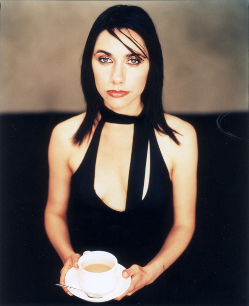 PJ Harvey with a cup of tea.  NME 2000