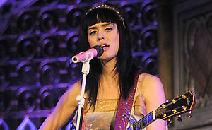 Katy Perry performs at the Mencap Little Noise Sessions at the Union Chapel in London.