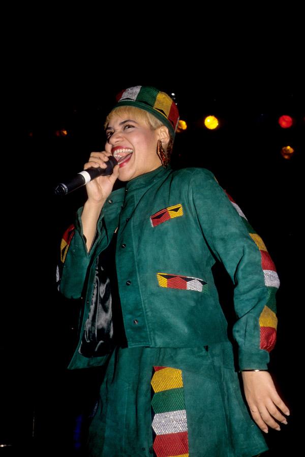Sandra Denton 'Pepa' of US hip hop group Salt-n-Pepa performs on stage