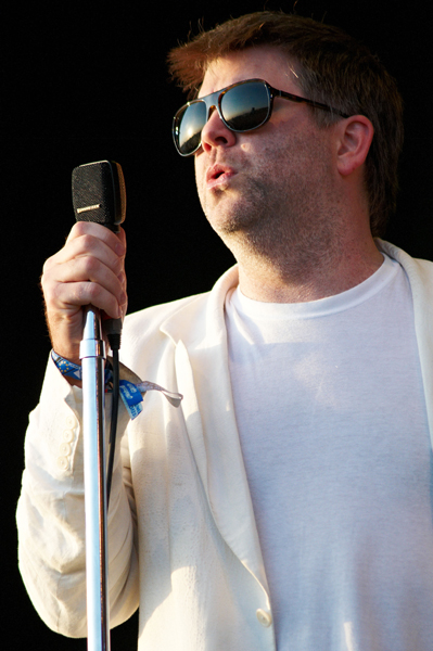 GLASTONBURY, UNITED KINGDOM - JUNE 27: James Murphy of LCD Soundsystem performs on stage on the fourth day of Glastonbury Festival at Worthy Farm on June 27, 2010 in Glastonbury, England. (Photo by Gary Wolstenholme/Redferns) *** Local Caption *** James Murphy