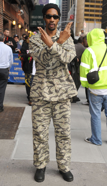 Rapper RZA arrives for the 'Late Show with David Letterman' at The Ed Sullivan Theatre in New York City.