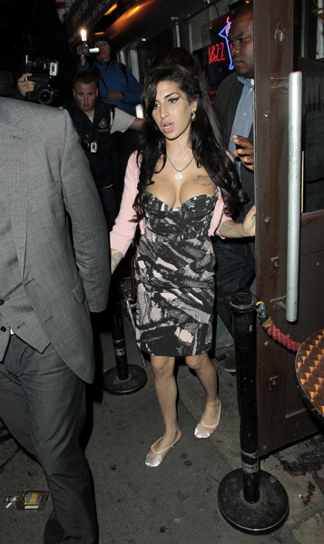 Amy Winehouse is seen leaving Jazz After Dark in Central London.