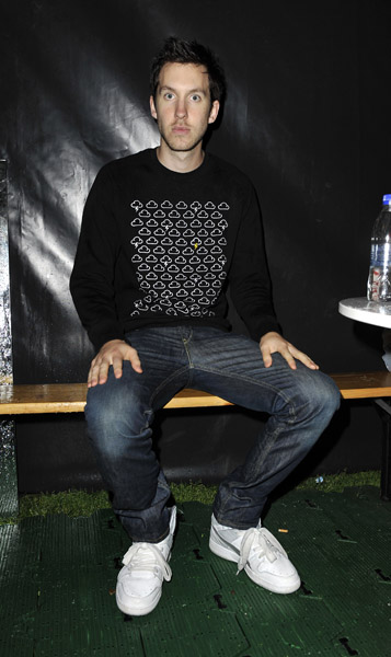 Calvin Harris backstage at Nokia Skate Almighty, on the South Bank in central London.