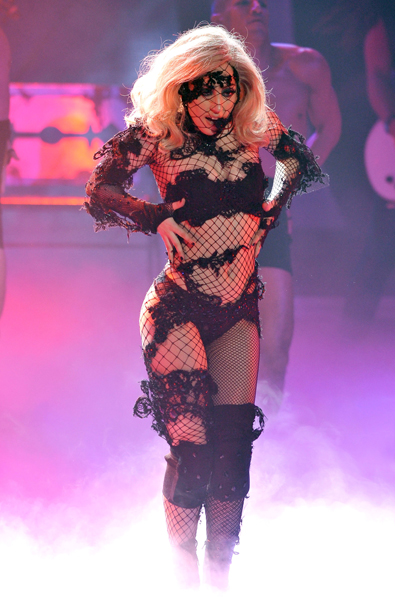 Singer Lady Gaga performs at the American Idol Season 9 Top 5 to 4 Elimination Show on May 5, 2010 in Los Angeles, California.