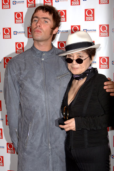 Lead singer of Oasis Liam Gallagher (Left) with Yoko Ono during the annual Q Awards 2005, the music magazine's annual awards ceremony, at the Grosvenor House Hotel, central London, Monday 10 October 2005. See PA story SHOWBIZ Q. PRESS ASSOCIATION Photo. Photo credit should read: Ian West/PA
