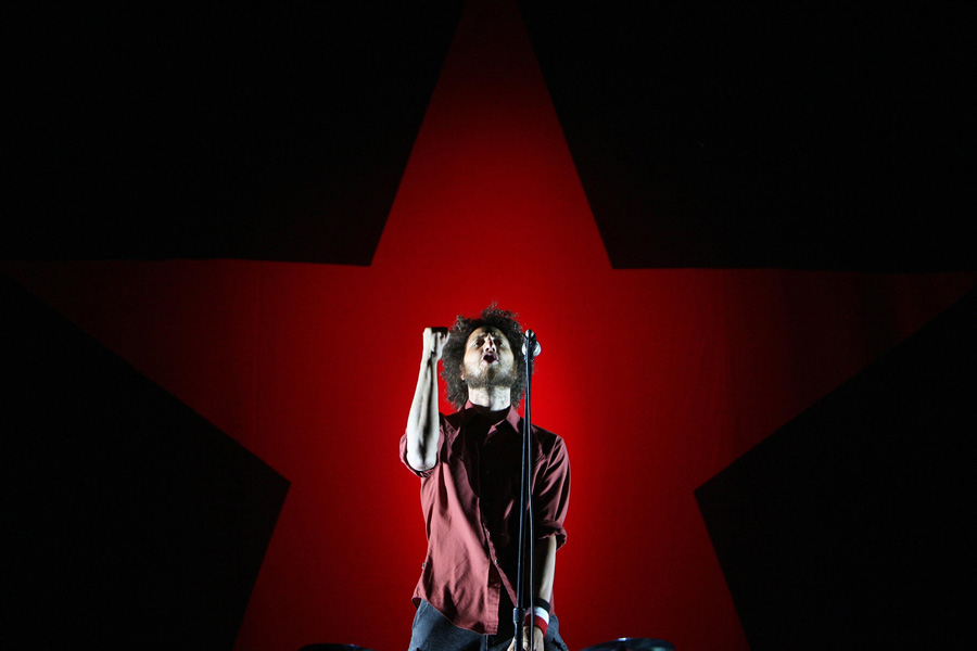 Zack de la Rocha of Rage Against the Machine performs at the Oxygen Music festival at Punchestown Race Course in Co Kildare.