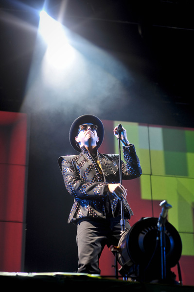 Neil Tennant performs on the Other Stage as the Pet Shop Boys headline on the Saturday night at Glastonbury Festival, Worthy Farm, Somerset.