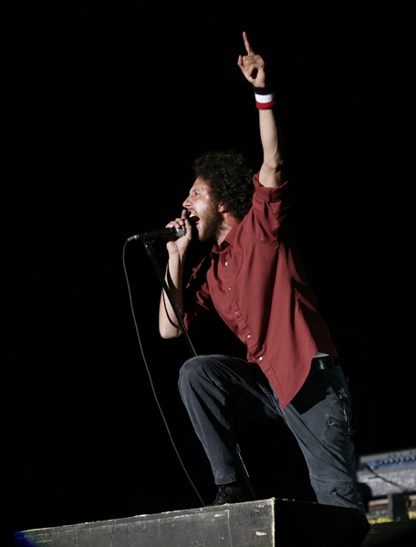 Photo dated 22/08/2008. Previously unissued photo of Zak de la Rocha of Rage Against the Machine performing at the Reading Festival in Berkshire.