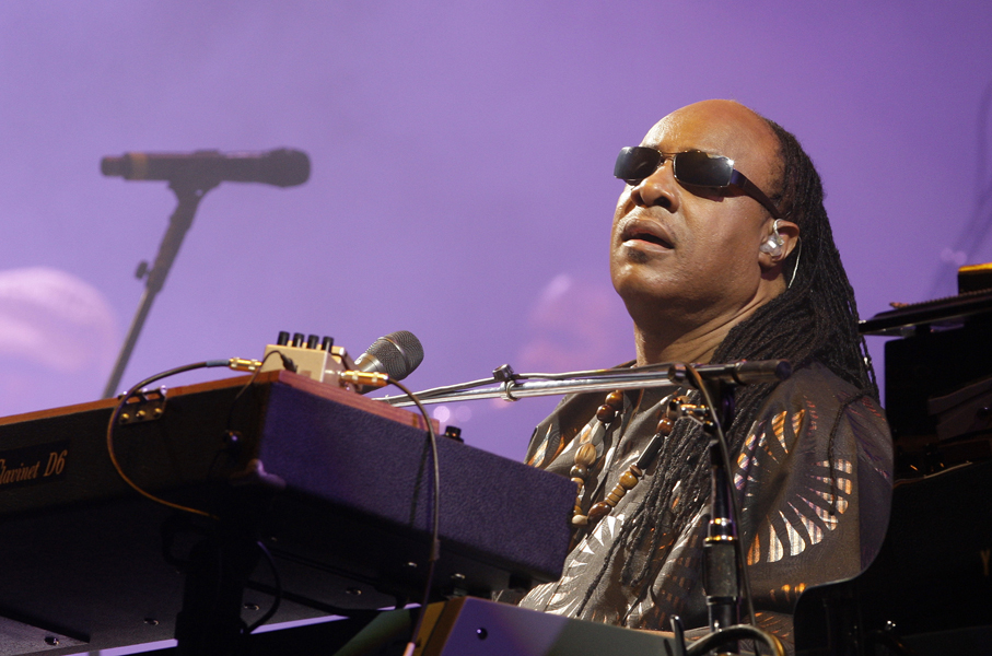 US musician Stevie Wonder performs, during the Glastonbury Festival, in Glastonbury, England, Sunday, June 27, 2010. This year marks the 40th anniversary of the festival. (AP Photo/Joel Ryan)