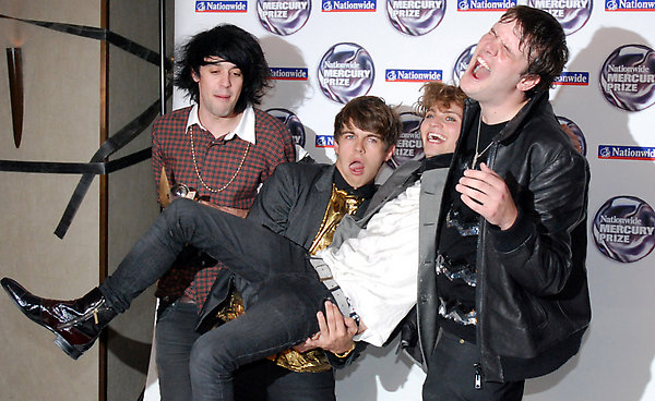 The Klaxons in the press room with their Mercury Music Award during the Mercury Prize 2007 at Grosvenor House Hotel, central London.