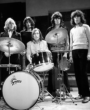 "The Rolling Stones during a rehearsal at the Wembley studios of London Weekend Television in preparation for their appearance David Frost's ""Frost on Saturday"" on the left is Brian Jones, Mick Jagger, Drummer Charlie Watts, Keith Richards and Bill Wyman."