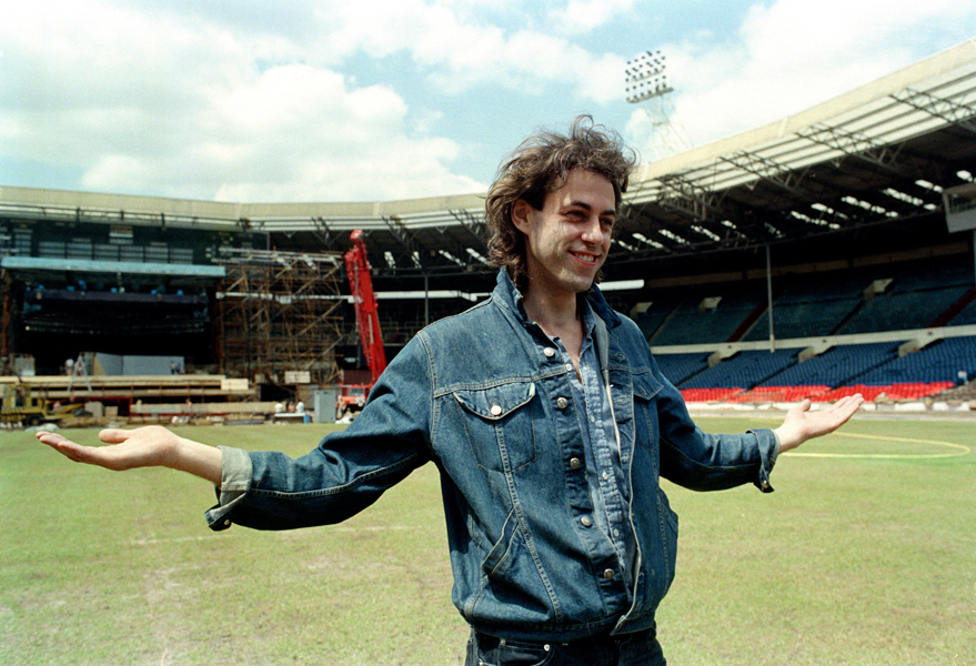 Bob Geldof is shown at Wembley Stadium during preparations for the Live Aid rock concert in London, England, July 10, 1985. The Irish pop singer has organized the July 13 concert to raise money for the famine in Ethiopia. (AP Photo/David Caulkin)