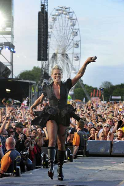Pink performs at the Isle of Wight festival, in Newport on the Isle of Wight.