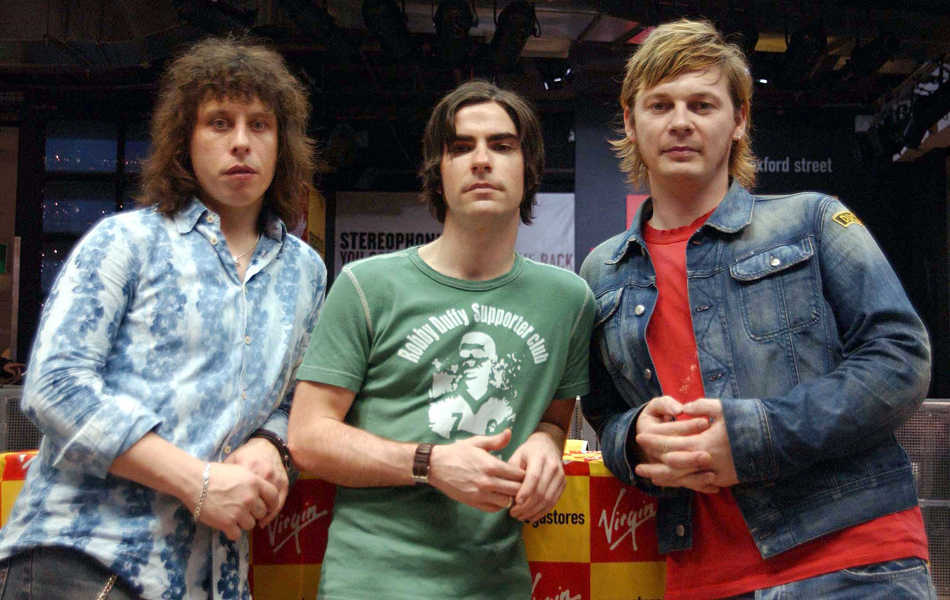 Stereophonics (from left) Stuart Cable, Kelly Jones and Richard Jones pose at the Virgin Megastore in London's Oxford Street, where the band signed copies of their new album 'You Gotta Go There to Come Back'.