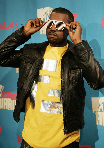 "Musician Kanye West, appears backstage during MTV's ""Total Request Live"" show at the MTV Times Square Studios in New York. West took part in the live show announcing the 2007 MTV Video Music Awards nominees."