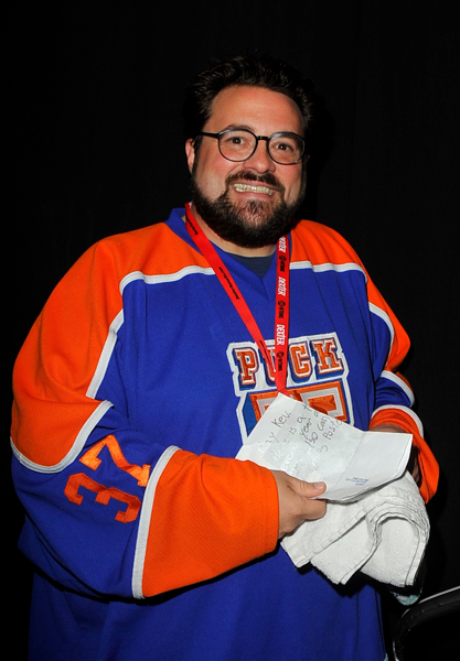 Kevin Smith during a panel on day 3 of the 2010 Comic-Con International Convention on July 24, 2010 at the San Diego Convention Center in San Diego, California.