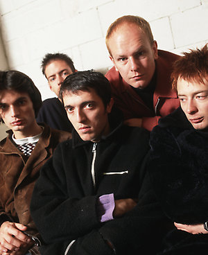 L-R (back): Ed O'Brien, Phil Selway, (front): Jonny Greenwood, Colin Greenwood, Thom Yorke  - studio, posed, group shot - Picture: Tibor Bozi - 40143715