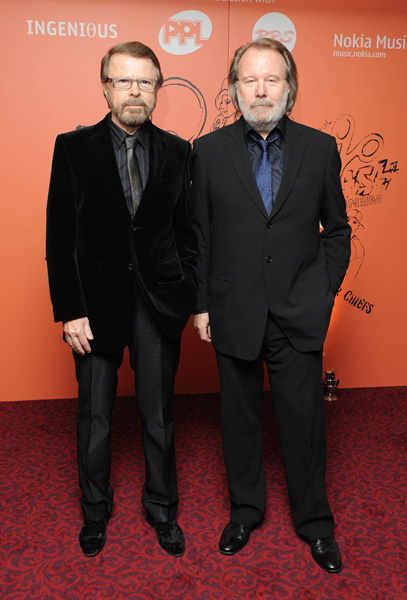 Benny Andersson (right) and Bjorn Ulvaeus from Abba arrive at the Music Industry Trusts' Award 2008 at the Grosvenor Hotel, Park Lane in central London.