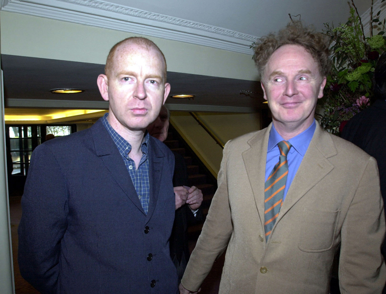 Music entrepreneurs Alan Mcgee (left) and Malcolm McClaren after arriving at The Savoy in London, for the South Bank Show awards.