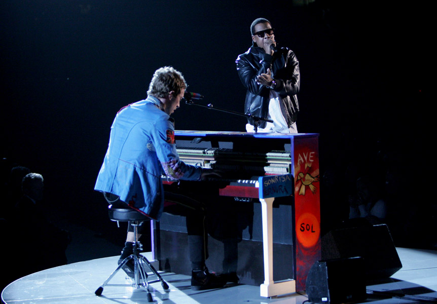 Coldplay and Jay-Z perform onstage at the 51st annual Grammy Awards in Los Angeles.