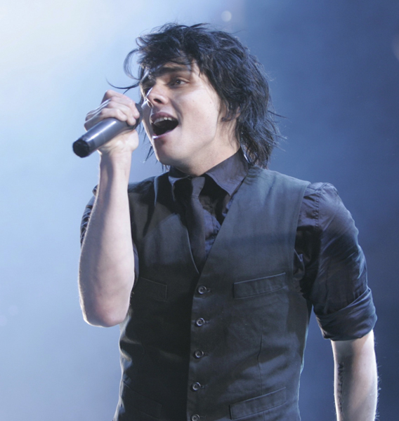 Gerard Way lead singer of My Chemical Romance performs on opening night at the Prudential Center in Newark, N.J., Thursday, Oct. 25, 2007. (AP Photo/Mike Derer)