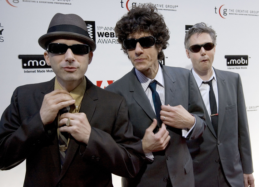 "The Beastie Boys, from left to right, Adam ""Ad-Rock"" Horovitz, Michael ""Mike D"" Diamond, and Adam ""MCA"" Yauch, arrive to pickup a Webby Award, June 5, 2007 in New York. They join Madonna, heartland rocker John Mellencamp and premier dance acts Donna Summer and Chic among the nine nominees for the Rock and Roll Hall of Fame, who were announced Friday, Sept. 28, 2007. (AP Photo/Stephen Chernin)"