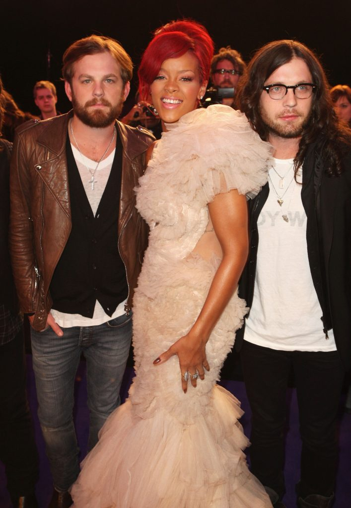 MADRID, SPAIN - NOVEMBER 07:  (L-R) Caleb Followill, Rihanna and Nathan Followill attend the MTV Europe Awards 2010 at the La Caja Magica on November 7, 2010 in Madrid, Spain.  (Photo by Dave J Hogan/Getty Images) *** Local Caption *** Caleb Followill; Rihanna; Nathan Followill
