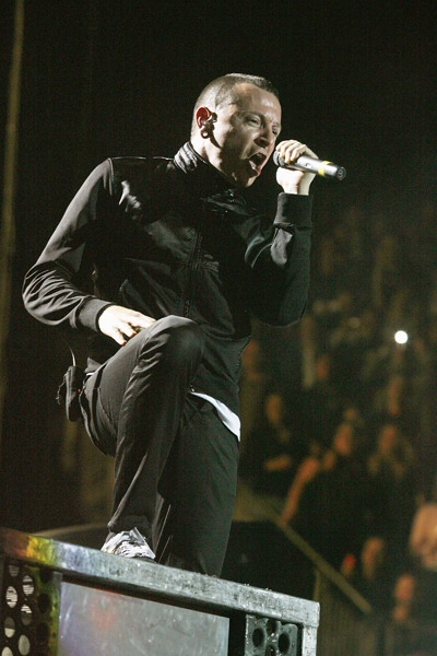 Chester Bennington of rock band Linkin Park performing at the O2 Arena in south east London.