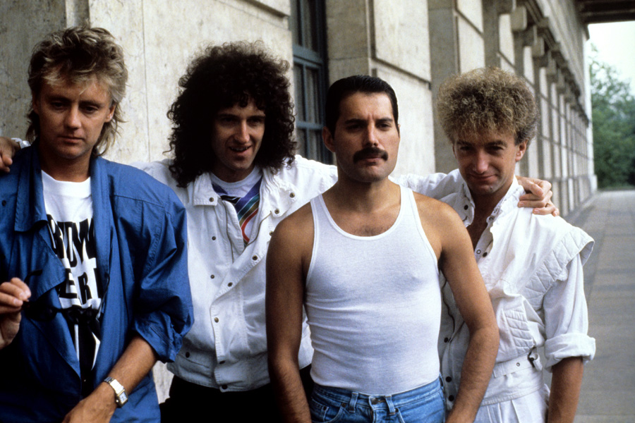 The British rock band 'Queen'. From left: Roger Taylor, Brian May, Freddie Mercury and John Deacon.