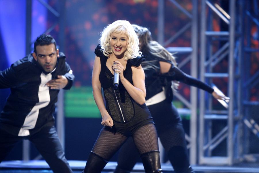 Christina Aguilera performs at the American Music Awards in Los Angeles on Sunday, Nov. 23, 2008. (AP Photo/Matt Sayles)