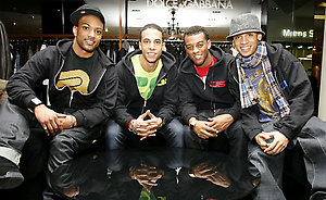 X Factor finalists JLS go shopping in Selfridges on Oxford Street in central London.