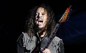 Kirk Hammett of Metallica performs on day three of the Reading Festival 2008, Berkshire.