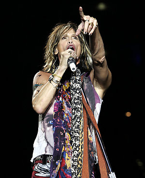 Steven Tyler of Aerosmith performs during the band's show in Cologne, Germany.