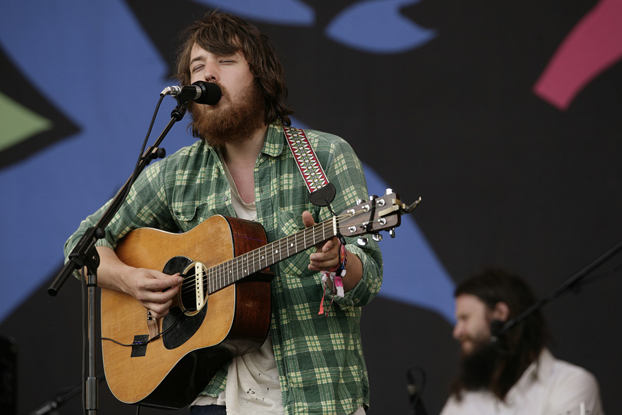 Robin Pecknold of Fleet Foxes performing during the 2009 Glastonbury Festival at Worthy Farm in Pilton, Somerset.