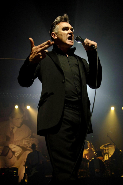 File photo dated 12/04/06 of Morrissey performs on stage at The Lowry Centre in Salford Quays, Manchester. The Singer will celebrate his 50th birthday tonight with a concert fittingly in his home city.
