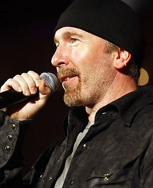 The Edge of U2 hosts the evening on stage at the Union Chapel in Islington, North London, as part of the Mencap Little Noise sessions.